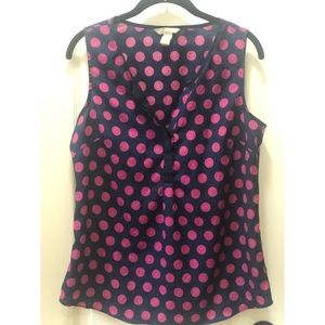 Banana Republic Pink Polkadot Sleeveless Blouse